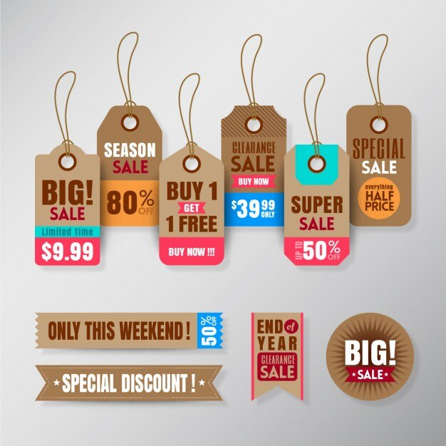 Hanging tags for sales Free Vector
