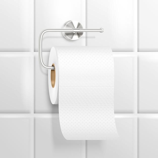 Висячая туалетная бумага реалистичная композиция Бесплатные векторы