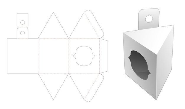 Hanging triangular packaging with curve window die cut template Premium Vector