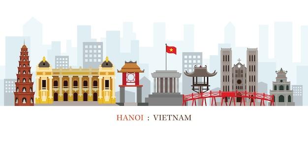 Ảnh vector Hà Nội Việt Nam các địa danh theo đường phẳng