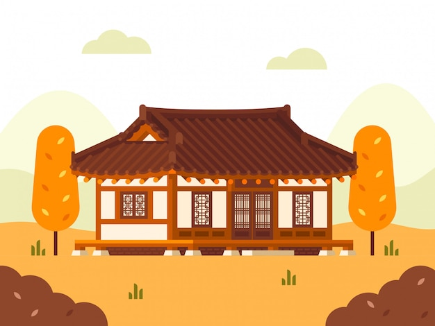 Hanok house illustration. autumn season. Premium Vector