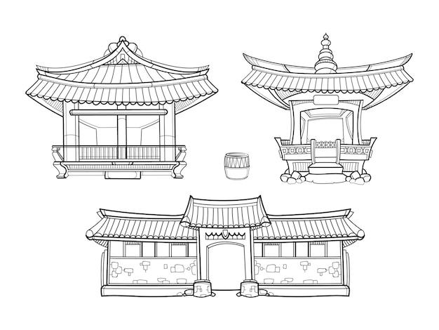 한옥 한국 전통 건축 벡터 개요 집합입니다. 궁전 집, 건축 아시아 마을 문화, 아시아 집 그림 무료 벡터