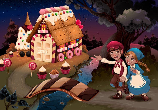 Hansel and gretel near the candy house Free Vector