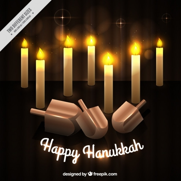 Hanukkah background with burning candles and\ spinning tops