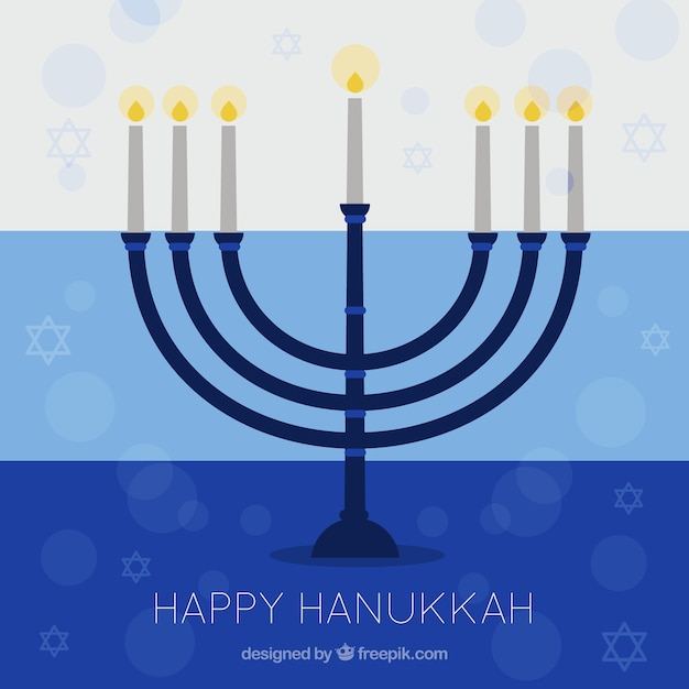 Hanukkah background with candelabra and stars\ in flat design