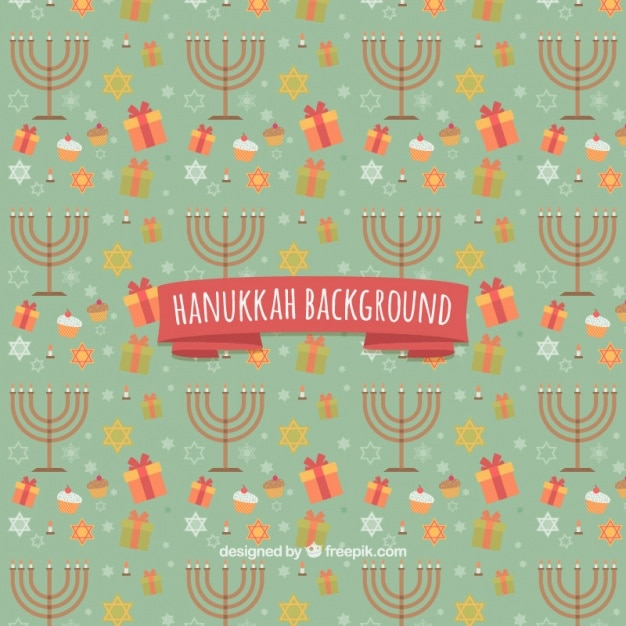 Hanukkah background with candelabras and\ gifts