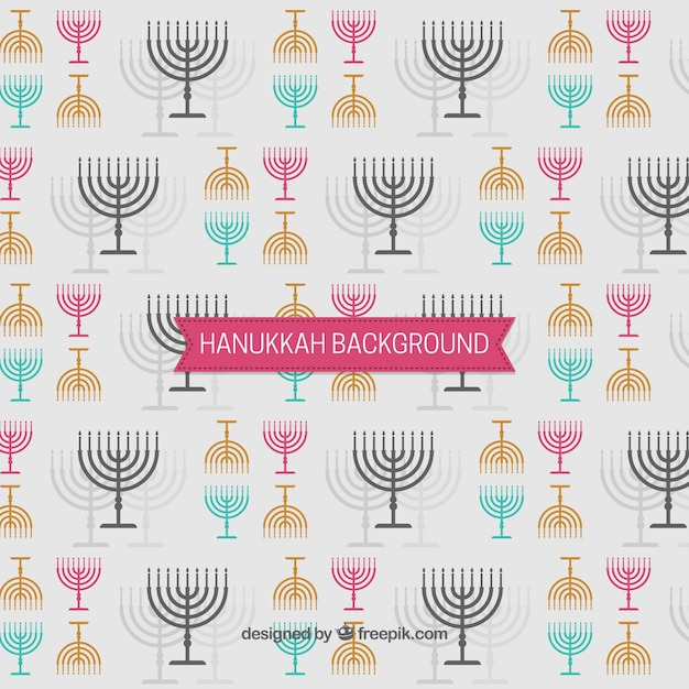 Hanukkah background with candelabras in\ different colors