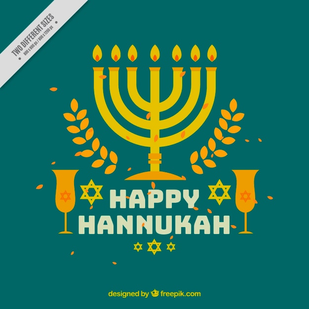Hanukkah background with glasses and candelabra Free Vector