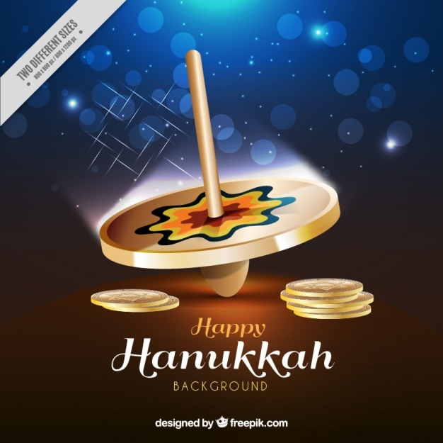 Hanukkah background with spinning top in realistic style Free Vector