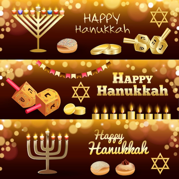 Hanukkah banner set Premium Vector