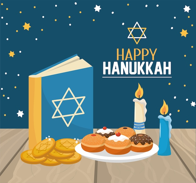 Hanukkah book with breads and cookies celebration Premium Vector