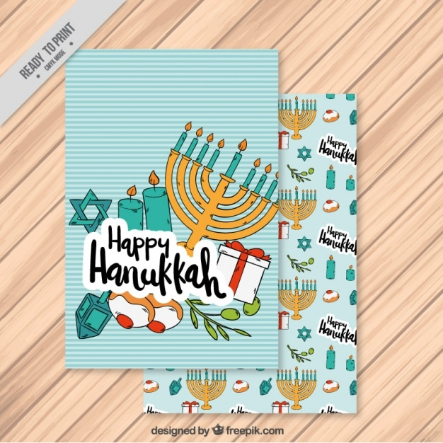 Hanukkah card with candelabra and striped background Free Vector