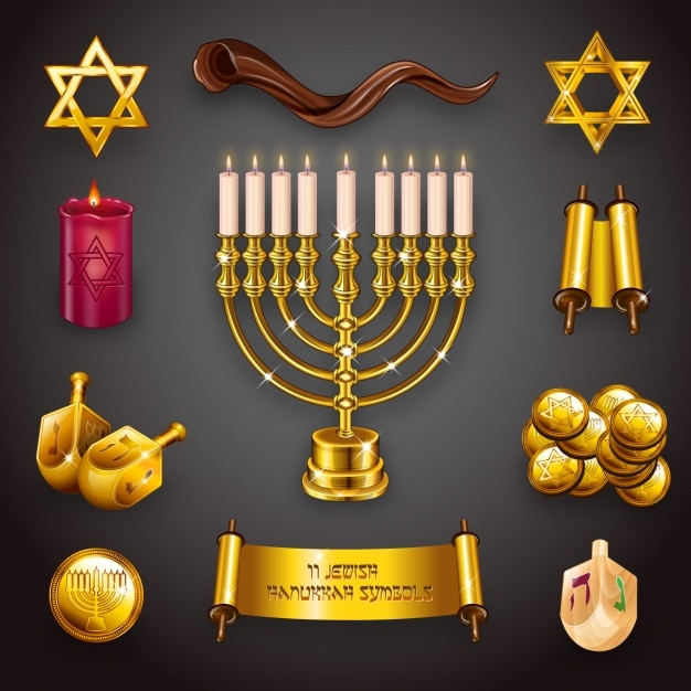 hanukkah elements collection vector free download