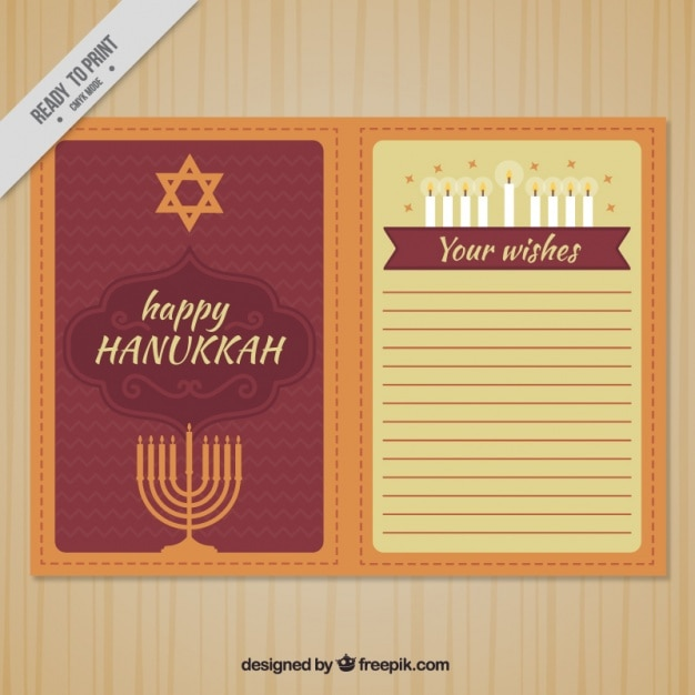 Hanukkah greeting card in flat design Free Vector