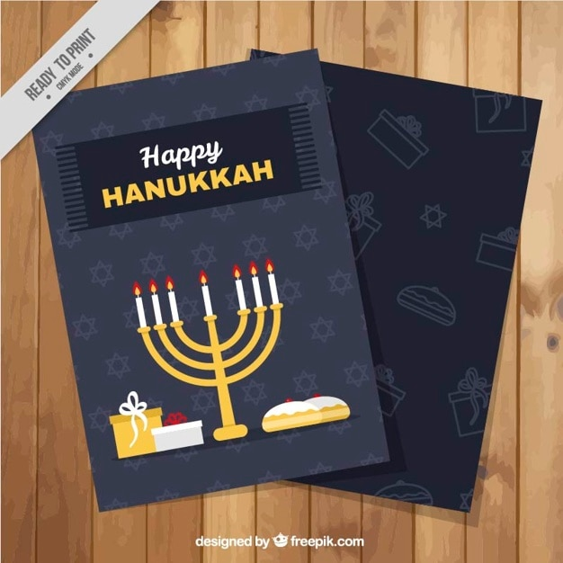 Hanukkah greeting card with candelabra and\ gifts in flat design