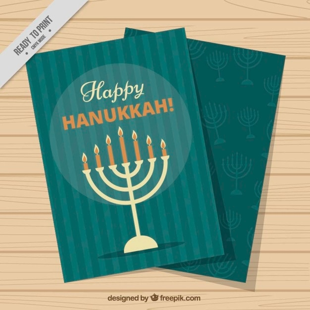 Hanukkah greeting card with candelabra and stripes Free Vector