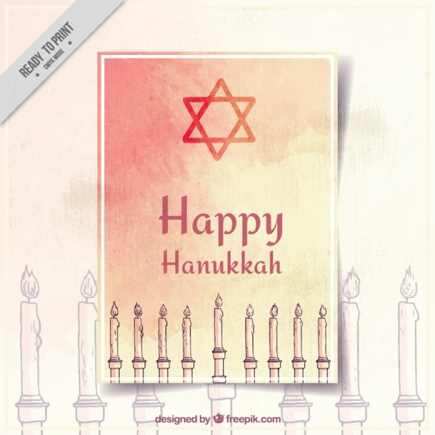 Hanukkah greeting card with candles in\ watercolor style