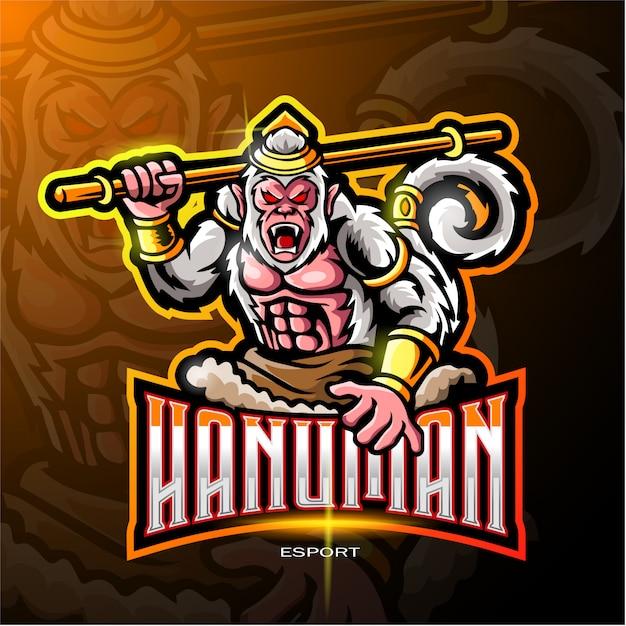 Hanuman mascot logo for electronic sport gaming logo Premium Vector