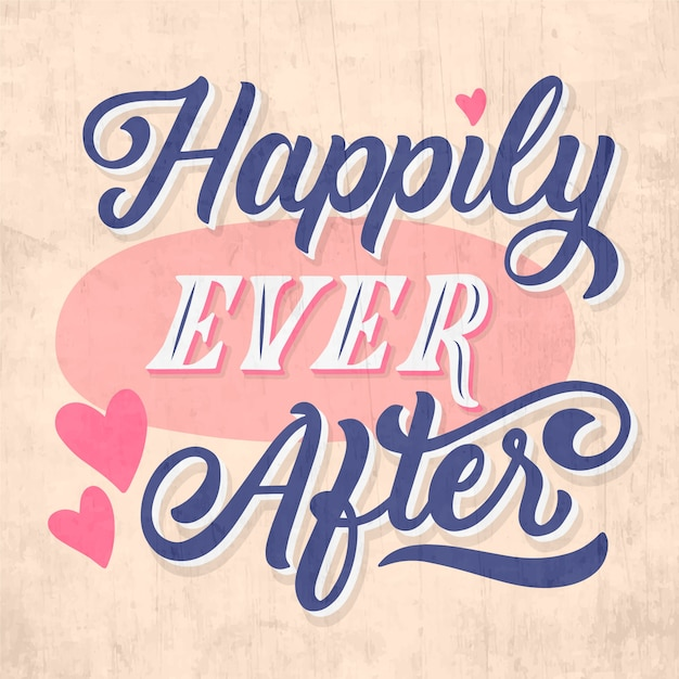 Free Vector | Happily ever after wedding lettering