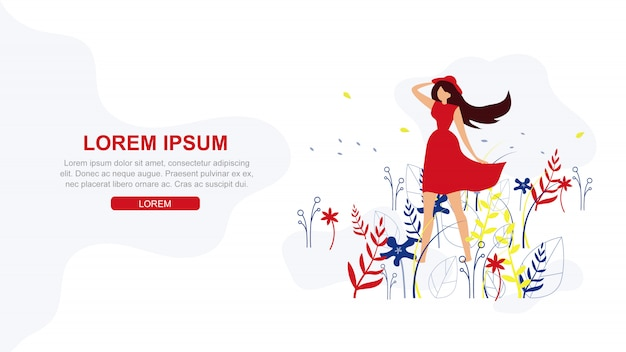 Happiness in simple things flat vector web banner Premium Vector