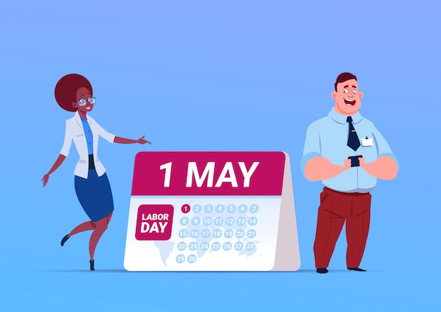 Happy 1 may labor day poster with business man and woman over calendar Premium Vector