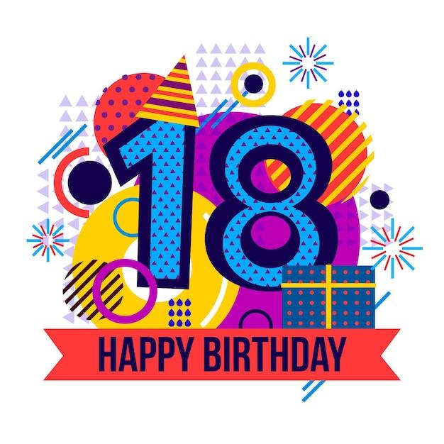 Felice diciottesimo compleanno sfondo con cappello da festa Vettore gratuito