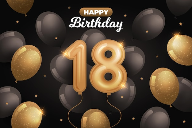Happy 18th birthday background with realistic balloons Premium Vector