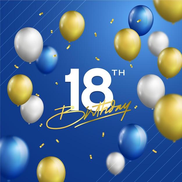 Felice diciottesimo compleanno sfondo con palloncini realistici Vettore gratuito
