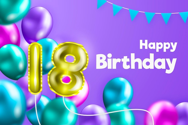 Happy 18th birthday background with realistic balloons Free Vector