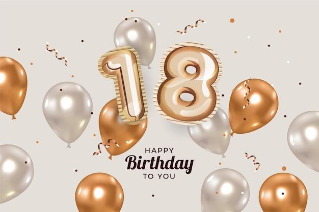 リアルな風船で18歳の誕生日おめでとう背景 Premiumベクター