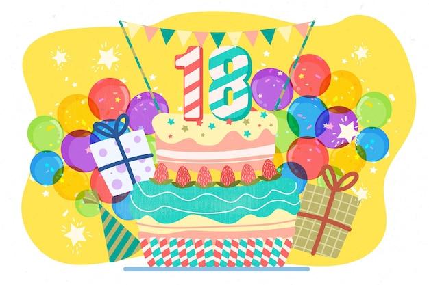 Happy 18th birthday background Free Vector