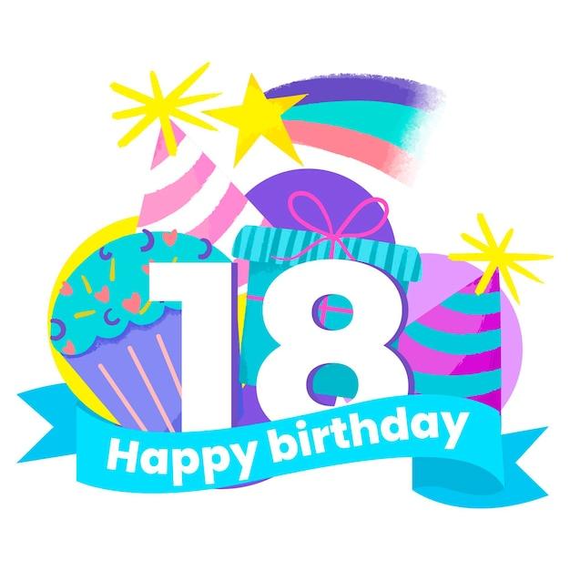 Happy 18th birthday wallpaper style Free Vector