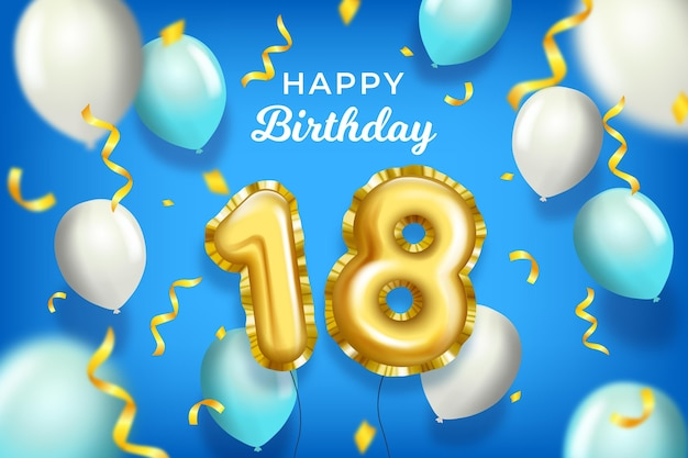 Happy 18th birthday with realistic balloons Free Vector
