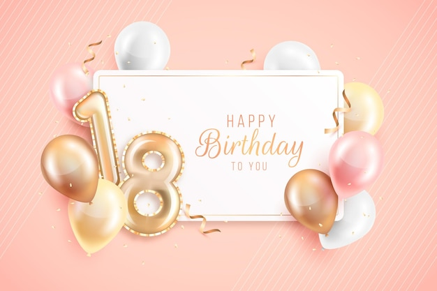 Happy18th birthday with realistic balloons Free Vector