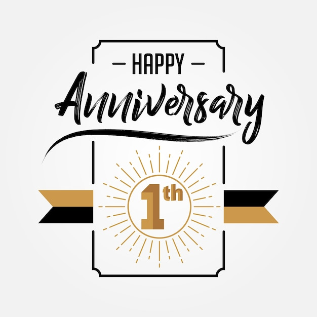 Happy 1st Anniversary Hand Drawn Lettering Vector Premium Download