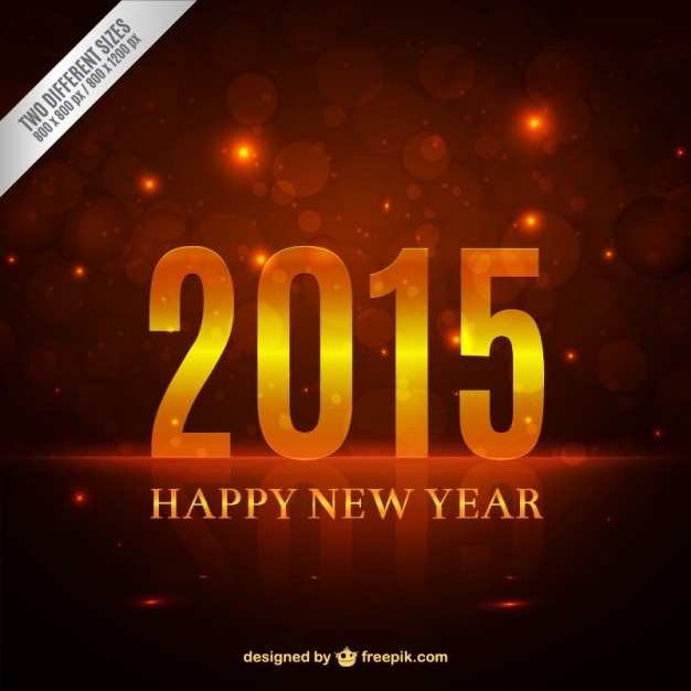Happy 2015 background with bokeh effect Free Vector