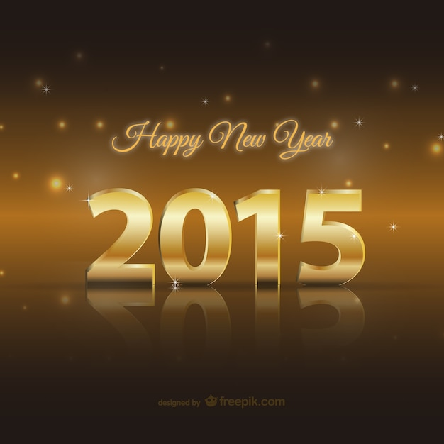 Happy 2015 golden card Free Vector