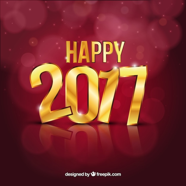Happy 2016 Background With Golden Letters Vector