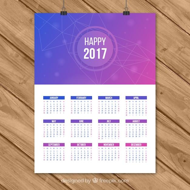 Happy 2017 abstract purple calendar Premium Vector