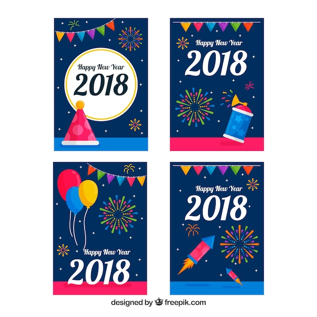 Happy 2018 collection of new year cards