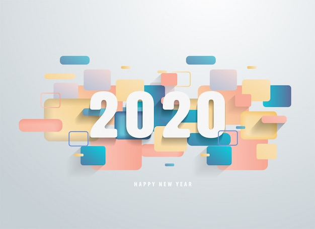 Happy 2020 new year with colorful geometric shapes banner. Premium Vector