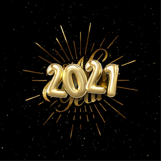 Happy 2021 new year. holiday illustration with lettering ...
