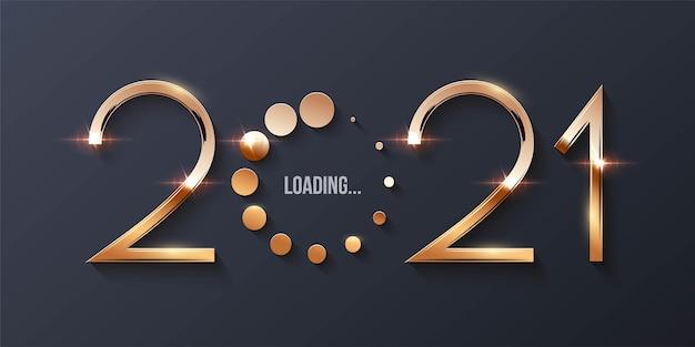 ハッピー2021年新年の読み込みの概念。 Premiumベクター