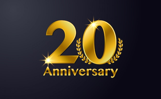 Счастливый 20-летие фон шаблона. с черным и золотым цветом Premium векторы