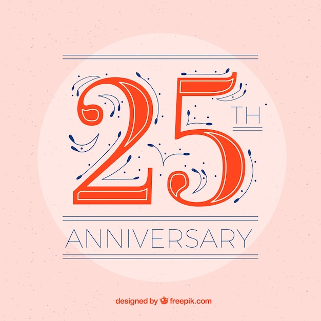 Happy 25th anniversary background in flat style Free Vector