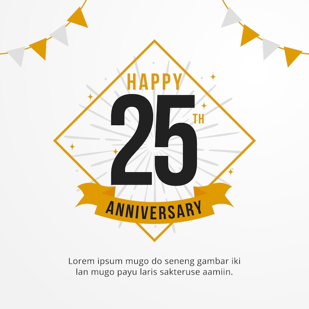 happy 25th anniversary logo template vector premium download rh freepik com 25th anniversary logo images 25th anniversary logo template