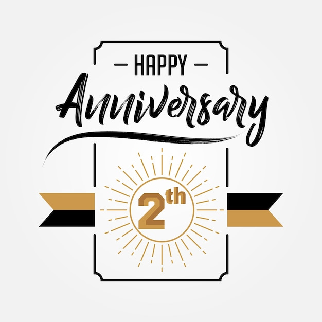 happy 2nd anniversary hand drawn lettering premium vector