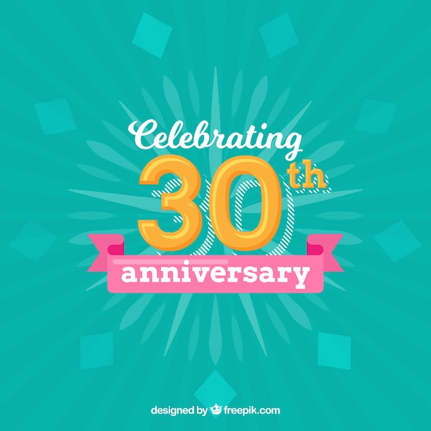 Happy 30th Anniversary Background In Flat Style Vector Free Download