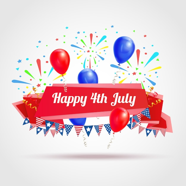 Happy 4th of july greeting postcard with festive flags fireworks and balloons symbols realistic illustration Free Vector
