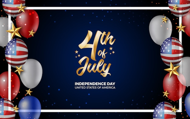 Happy 4th of july independence day of america illustration Premium Vector